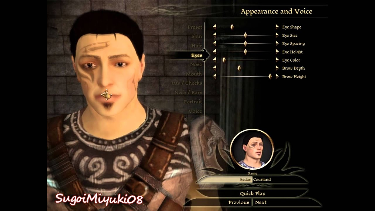 Dragon Age Origins Characters Creation Dragon Age:origins Character
