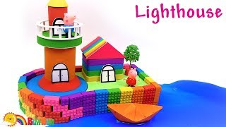 How To Build Kinetic Sand Lego Lighthouse - Creative Toys For Kids
