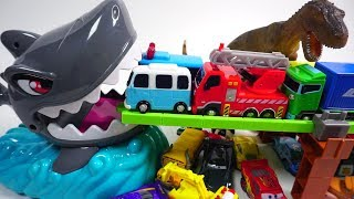 Cars for kids Learn vehicles name sound slide into the garage box tayo truck car toys
