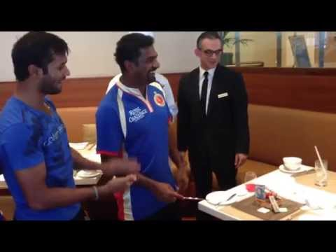 Oberoi Dubai Hotel staff surprise Murali at the breakfast with a Birthday Cake.
