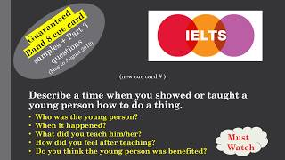 IELTS Cue card Describe a time when you showed or taught a young person how to do a thing