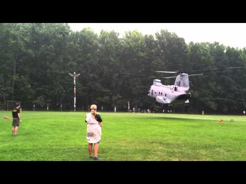 USMC CH-46E Sea Knight Helicopter Lands At Pipsico BSA