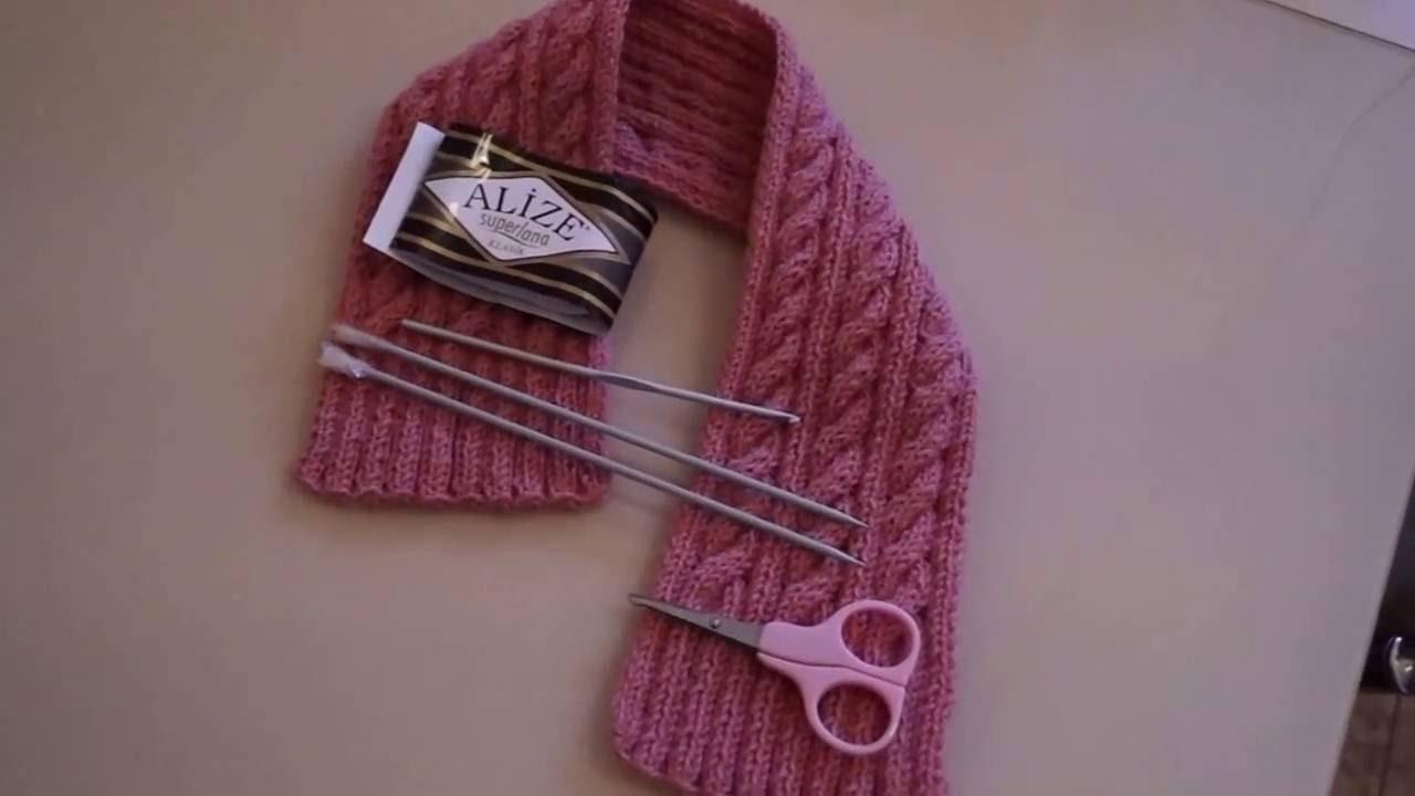 Вязание детских шарфиков спицами для начинающих 74