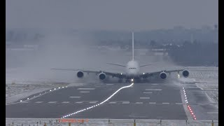 Airbus A380 Extreme weather crosswind landing and takeoff Lots of Snow spray