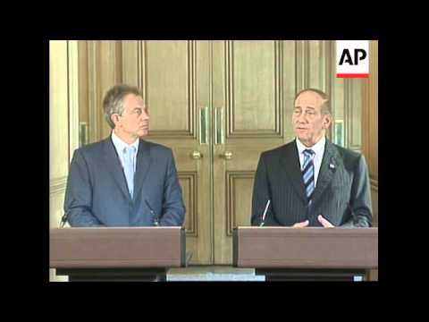 Presser by PMs Blair and Ehud Olmert