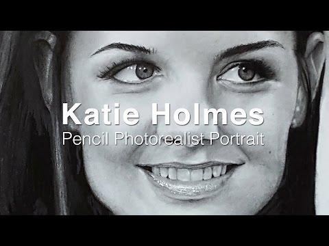 Katie Holmes Pencil photorealist portrait