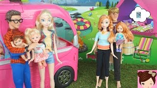 Elsa & Anna Toddlers go Camping in Barbies Glam Camper