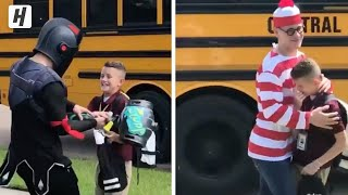 He surprises his little brother with a different costume every day!