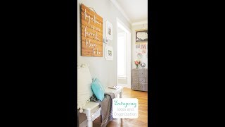 Hallway Ideas - Pretty hallway makeover reveal with tons of organization ideas