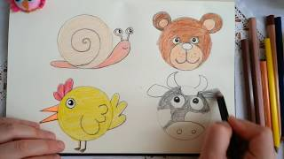 sevimli hayvan çizimleri / how easy animal is drawn? / how to drawing a cow?