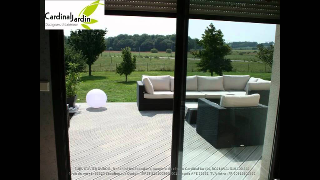 Terrasse contemporaine composite gris version longue youtube - Terrasse en bois gris ...
