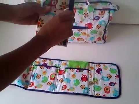 Bolso organizador pa ales toallitas y cambiador youtube - Cambiador bebe patchwork ...