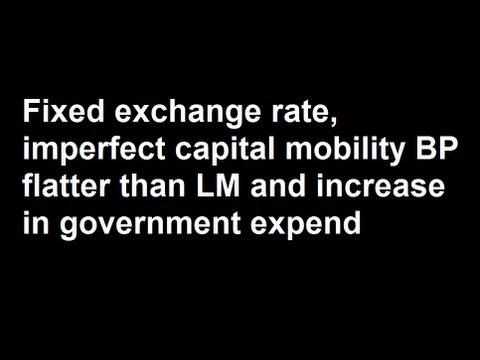 Fixed exchange rate, imperfect capital mobility BP flatter than LM and increase in government expend