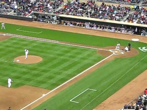 First MLB Pitch at Target Field