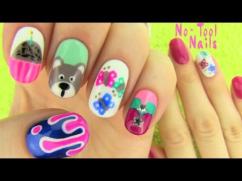 Nails Without Nail Art Tools! 5 Nail Art Designs! video
