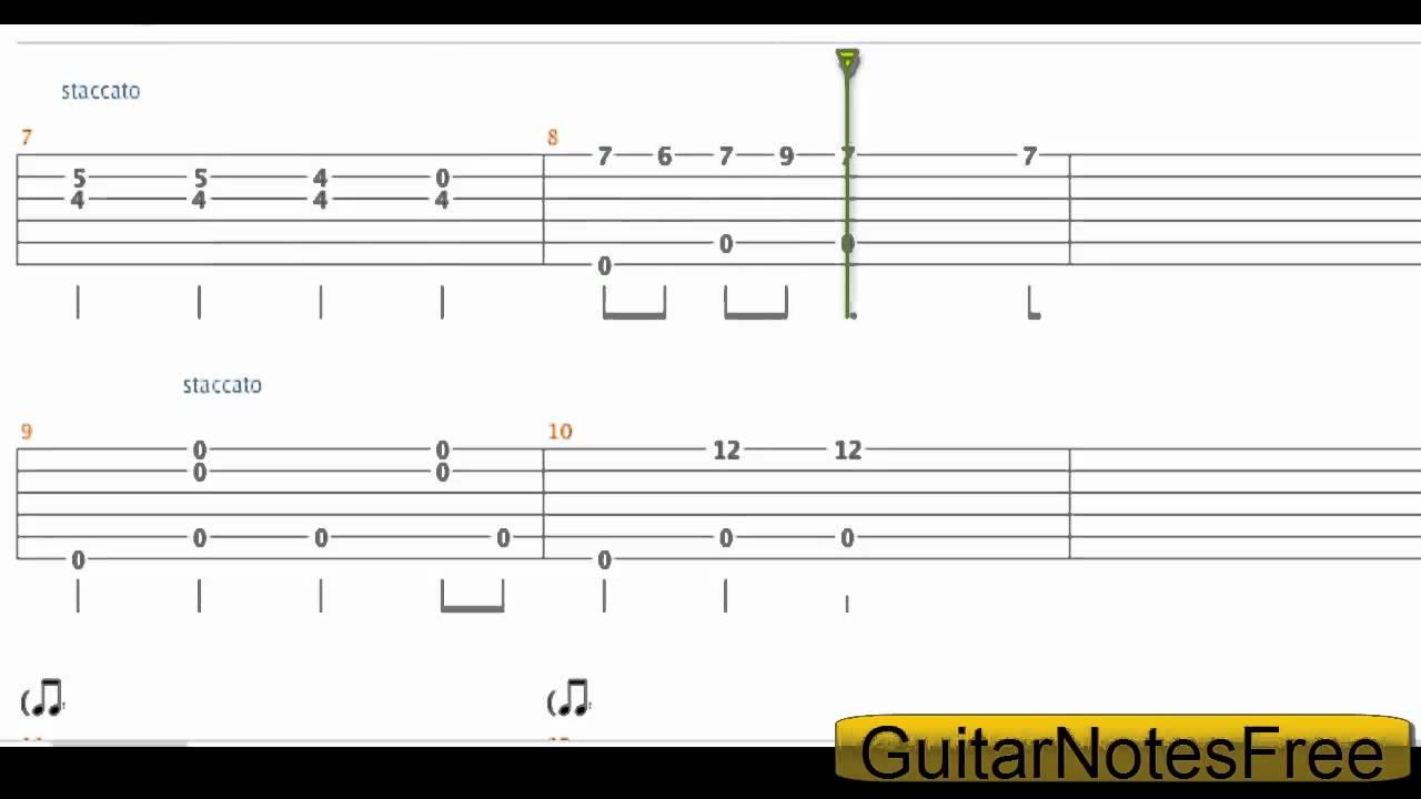 Spongebob Squarepants - Theme Acoustic Guitar Tab HD - YouTube
