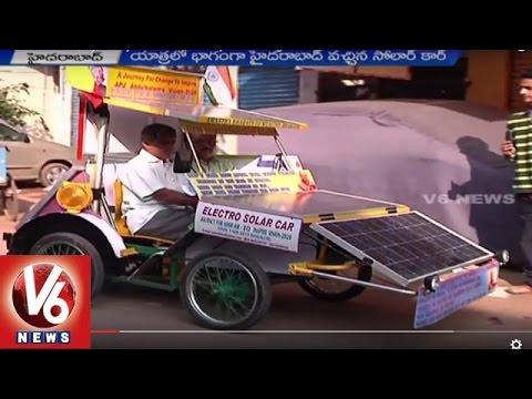 Electro Solar Car | Syed Sajid Ahmed Journey from Bangalore to Delhi - V6 News