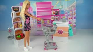 Juego De Supermercado Barbie Doll Supermarket - Ir De Compras Con La Familia Barbie