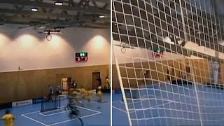 Moment terrified players flee sports hall as roof collapses above them