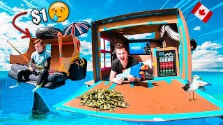 $1 Vs $10,000 FLOATING BOX FORT ON WATER CHALLENGE