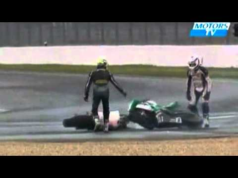 Auto Racing Airplane Crash on Amateur Motorcycle Race Ends In Bizarre Ballet Of Bike Crashes