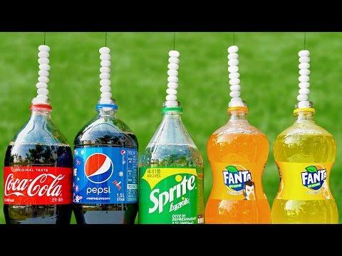 Experiment Mentos VS Coca Cola VS Pepsi VS Sprite VS Fanta