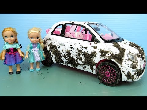 Muddy Car ! Elsa and Anna toddlers wash Barbie's cars