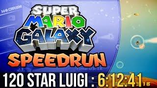 Super Mario Galaxy 120 Star Luigi Speedrun in 6:12:41