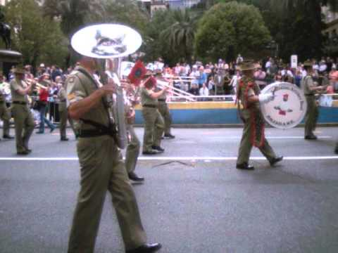 ANZAC Day 2011 - Royal Australian Artillery Band, French Legion and an old U S  Army Vehicle