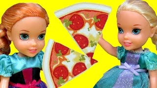 Pizza! ELSA toddler gets burned ! ELSA and ANNA toddlers at Pizzeria - Watching pizza being made