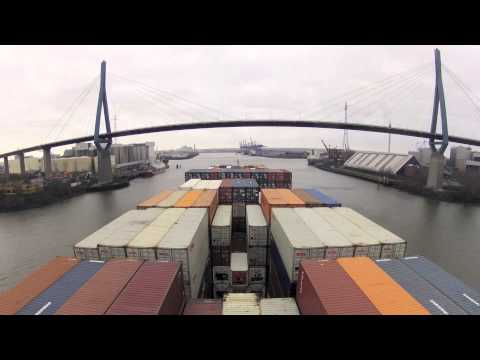 Time-Lapse of MV Pusan's Elbe River Transit from Brunsbüttel to HHLA CTA Altenwerder 2012-12-31