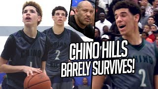 Lonzo Ball & Chino Hills BARELY SURVIVE! 14 Year Old LaMelo CLUTCH SHOTS + Lonzo OFF DAY TRIPLE DUB