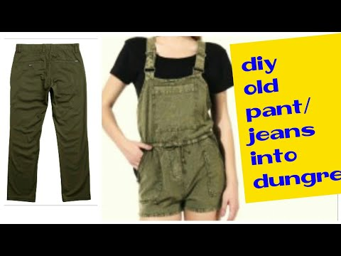 DIY: Convert/Reuse old Men's Trouser/Pant into girls DUNGAREE DRESS/ DUNGAREE SKIRT