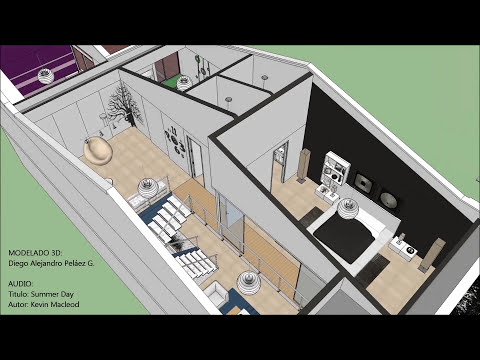 Casa moderna minimalista de estilo loft 7.20m x 18.50m (194 m²), Distribución arq.