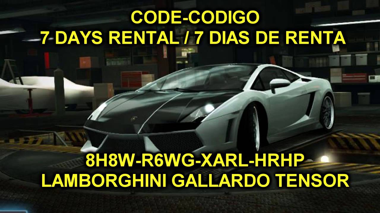 nfs world code codigo lamborghini gallardo tensor 7 days dias langjb youtube. Black Bedroom Furniture Sets. Home Design Ideas