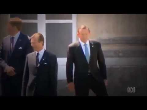 Nigel No-Friends: Tony Abbott out on his left at photo shoot with world leaders