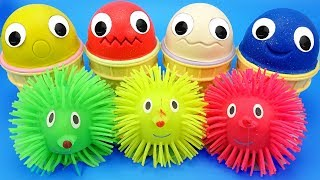 4 Colors Play Doh Ice Cream Cups Chupa Chups Hedgehog Trolls Shopkins Yowie Kinder Surprise Eggs