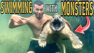 SWIMMING with MONSTER ALLIGATOR SNAPPING TURTLE! What could go wrong?