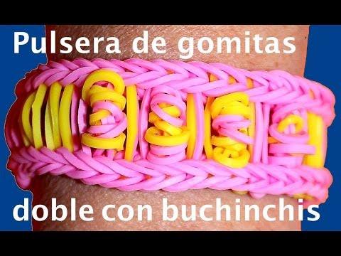 Pulsera  con gomitas o ligas dobles. Rainbow loom bracelet