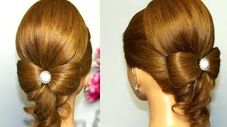 Hairstyle for long hair. Hair bow wedding updo tutorial