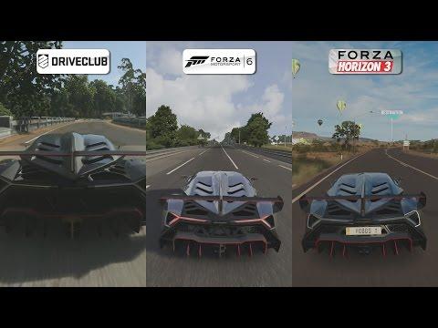 DriveClub vs Forza 6 vs Forza Horizon 3 - Lamborghini Veneno Sound Comparison