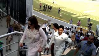 Sachin with Anjali   The last walk from the stadium