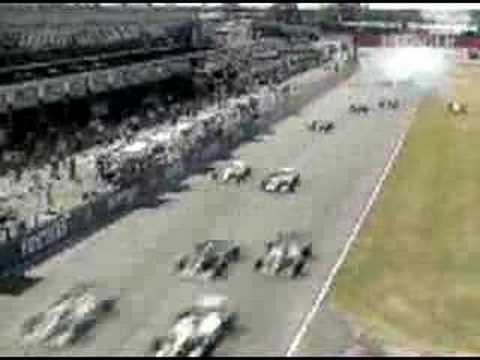 Start of the 1994 British Grand Prix where Martin Brundle's engine blows up straight away as Damon Hill pulls a Flier Start.
