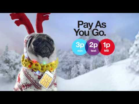 Three - Pay As You Go at Christmas. Still seriously serious - Pug 321 Advert