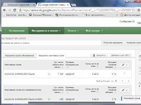 Подбор ключевых слов для сайта в сервисе от Google
