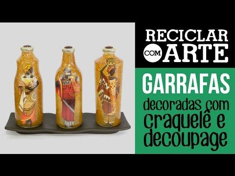 Garrafas de vidro com decoupage e craquelê - Reciclar com Arte