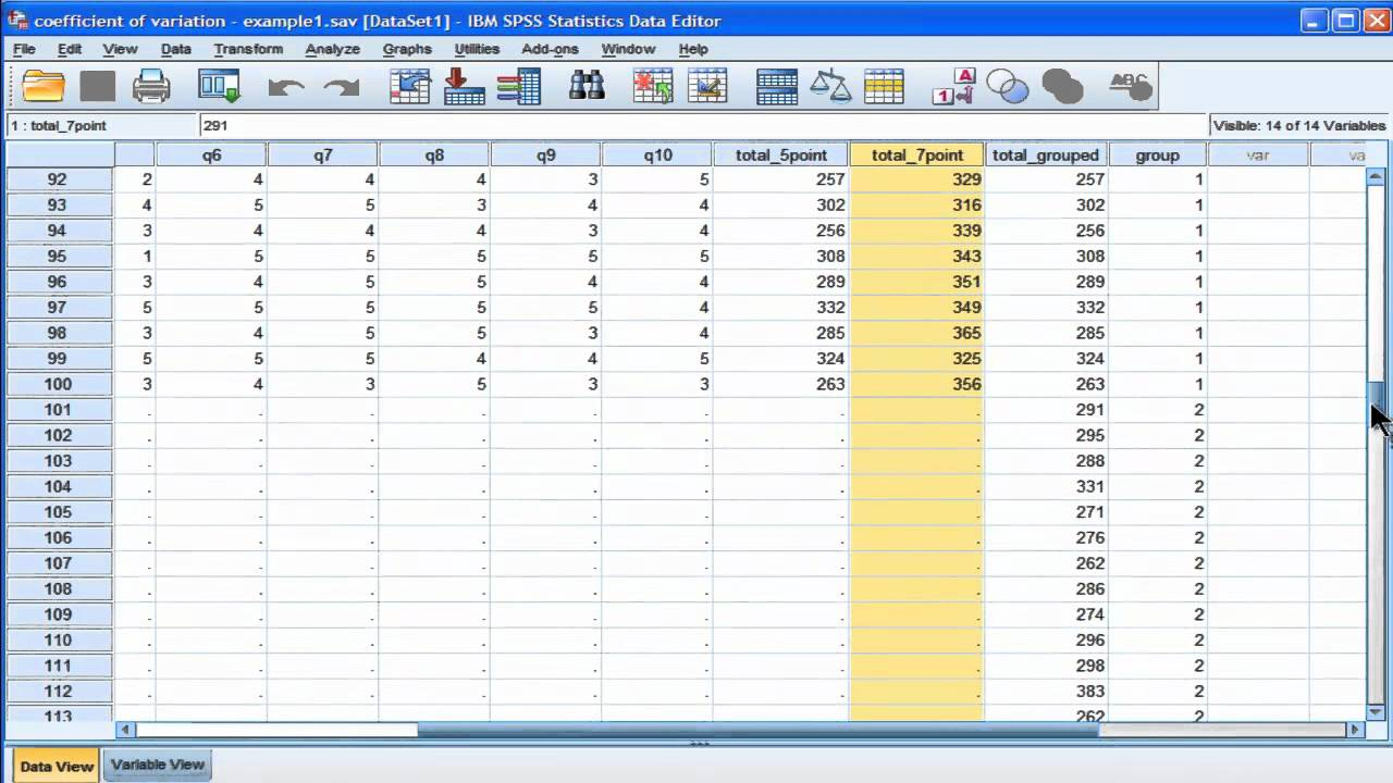 coefficient of variation - spss  part 2