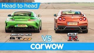 Mercedes-AMG GT R vs Nissan GT-R: DRAG RACE, ROLLING RACE & BRAKE TEST | Head-to-Head