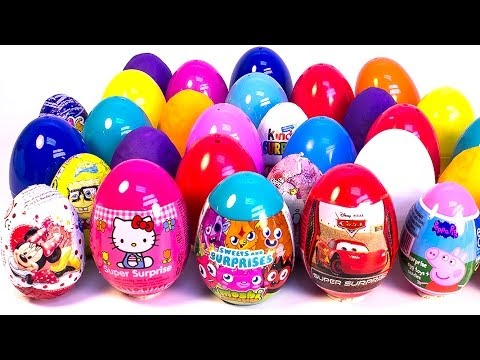 SURPRISE EGGS PEPPA PIG MOSHI MONSTERS CARS 2 MICKEY MOUSE MINNIE MOUSE PLAY DOH