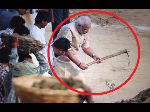 Narendra Modi cleans Assi Ghat in Varanasi